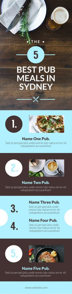 5 Best Pub meals - hospitality themed infographic template