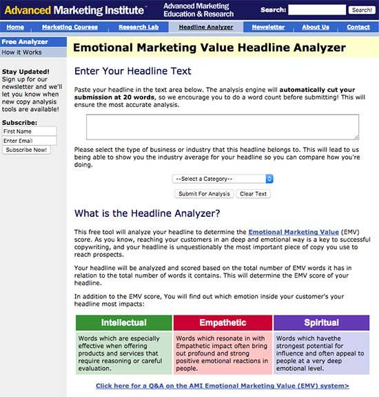 AMI Emotional Marketing Value Headline Analyzer