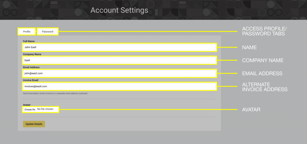 Account Settings - how to edit in Easil