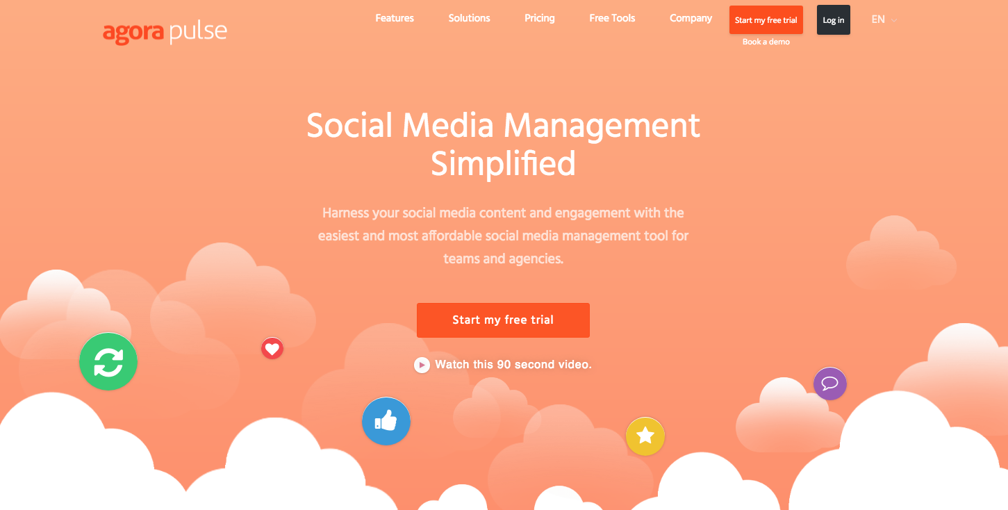 Agorapulse Website - 67 Awesome Visual Design Tools to Create Stunning Visual Content