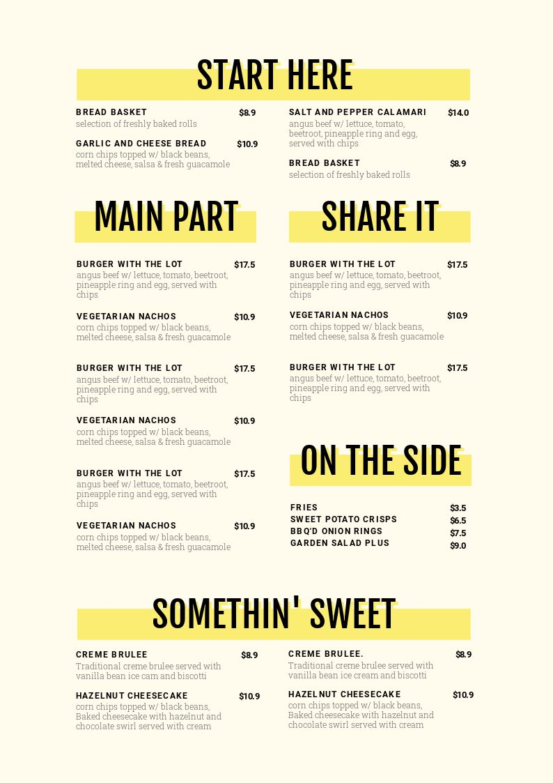 Menu template design with Stand Out Section Headers - 1 Menu Template, 10 Ways - Hack Your Visual Design Series