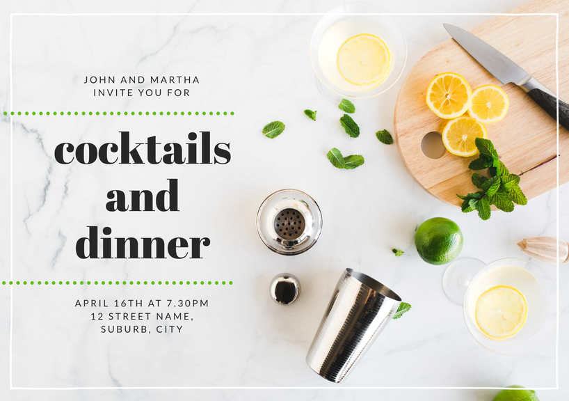 Design your own invitations with this cocktails and dinner template