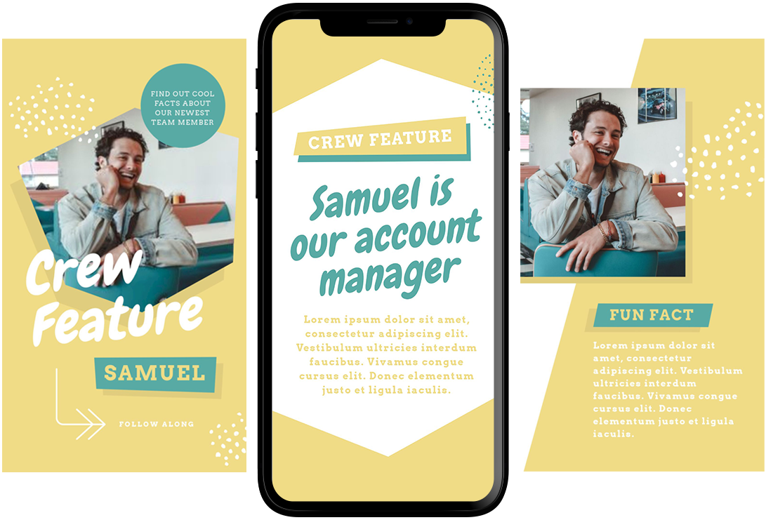 Team member feature Instagram Story Template - 11 Quick & Easy Instagram Story Ideas for When You Need Inspiration