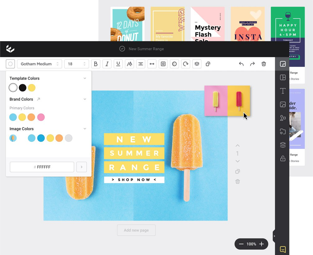 Easil DIY Graphic Design Interface with color picker and Brand Kit colors