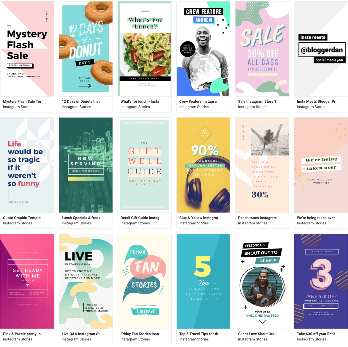 Creating Instagram Stories with planoly and easil - select from these Story templates