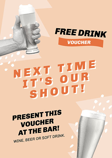 Free Drink Voucher for customers - Easil Design Template