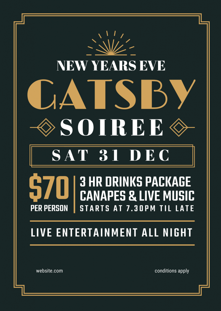 New Years Eve Gatsby Soiree Template featuring lines