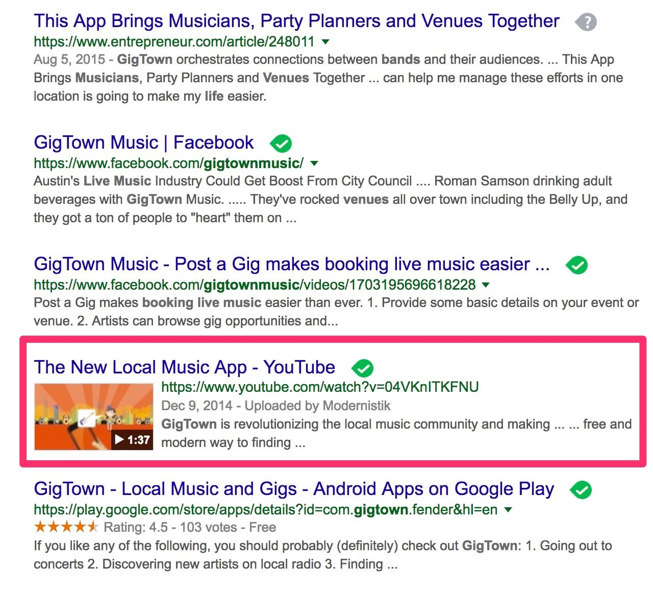 Gigtown search results