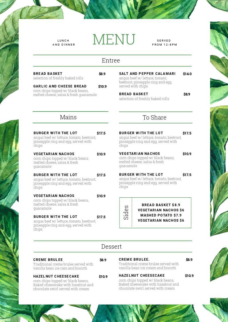Leafy Green Menu Template Design - 1 Menu Template, 10 Ways - Hack Your Visual Design Series