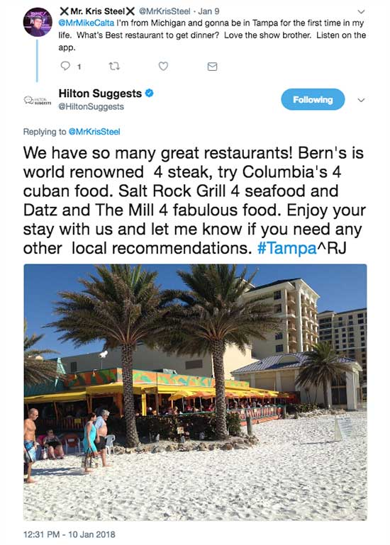 Hilton Suggests on Twitter - How to find the best Social Platforms for your Restaurant or Venue