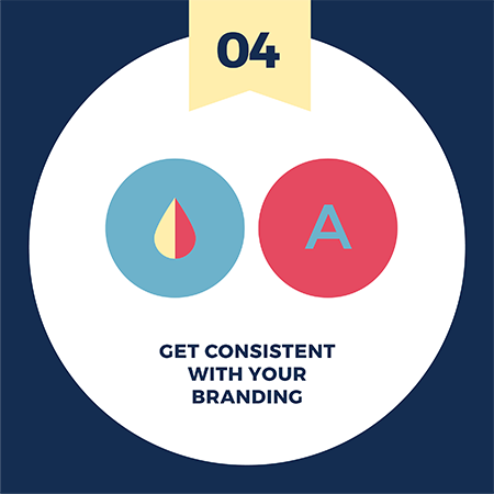 Make your brand story relatable with visuals tip number 4 - be consistent with your branding elements such as color and fonts