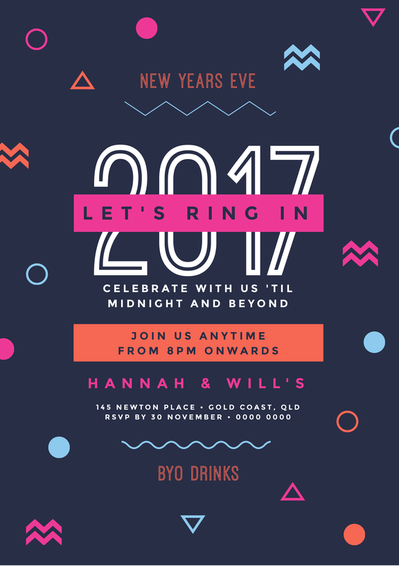 NYE Party Template - design your own invitations with this graphic element template