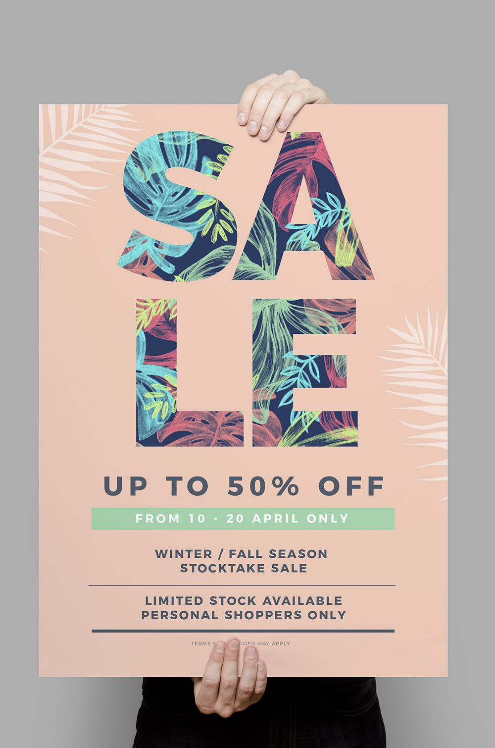 Tropical Sale Poster using Text Mask Effect - Image in Text Poster Designs 10 Ways - Hack Your Visual Design Series