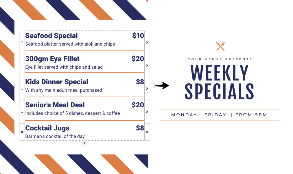 Weekly Specials Menu - Easil's Menu Maker - Why You Need to Kiss your Designer Goodbye
