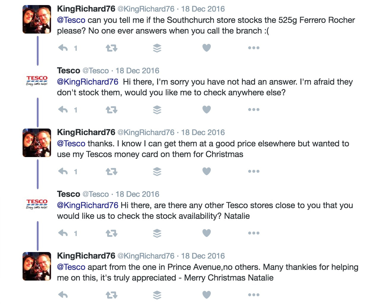 Tesco answering questions on social media