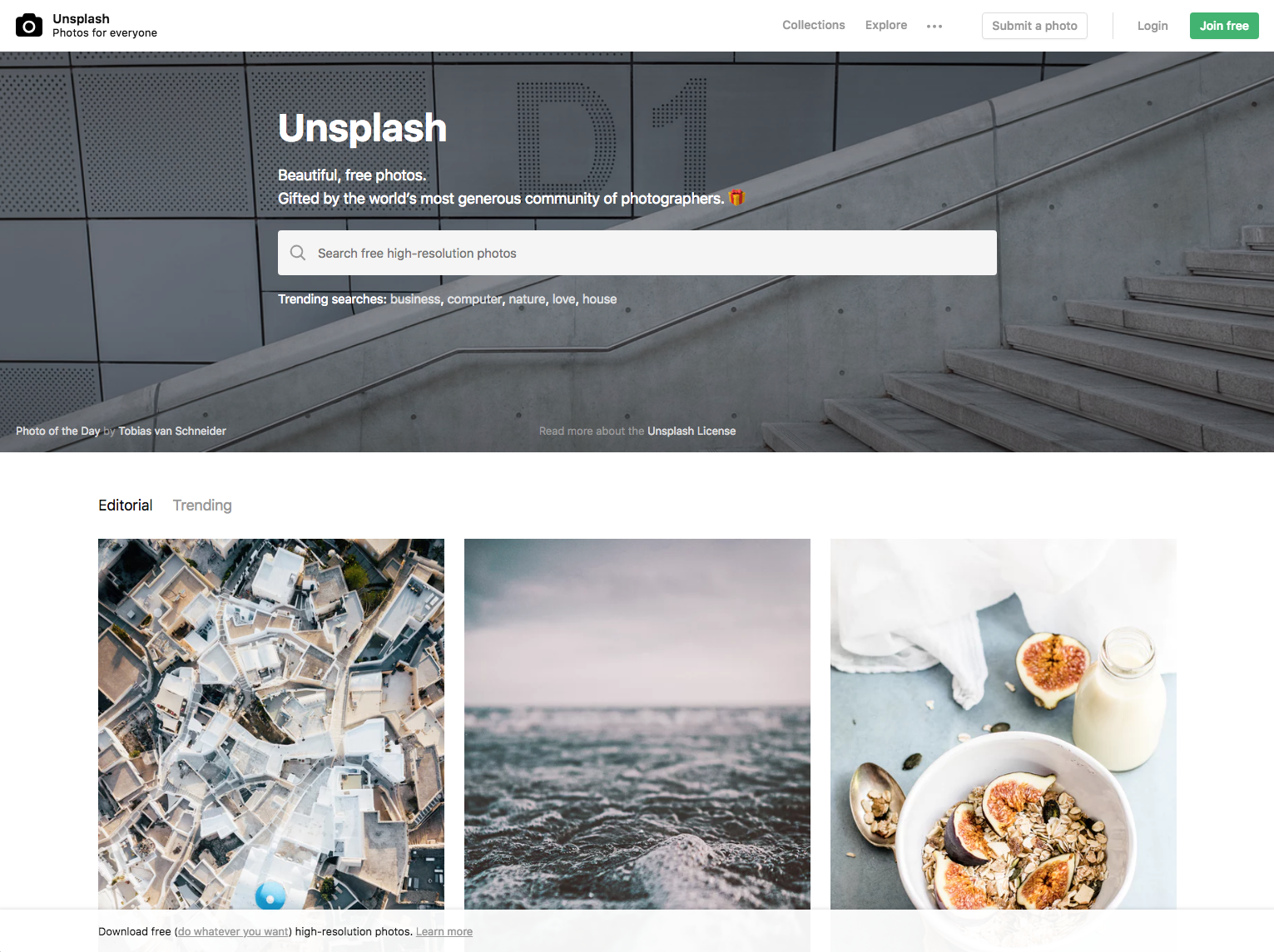 Unsplash Website - 67 Awesome Visual Design Tools to Create Stunning Visual Content
