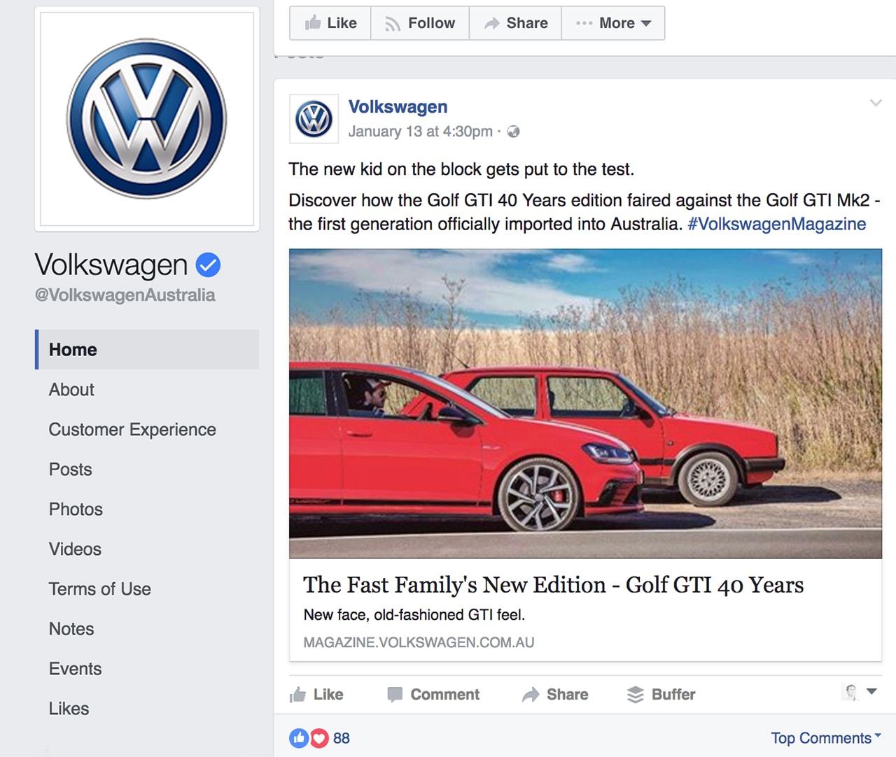 Volkwagen visual content tactics on Facebook