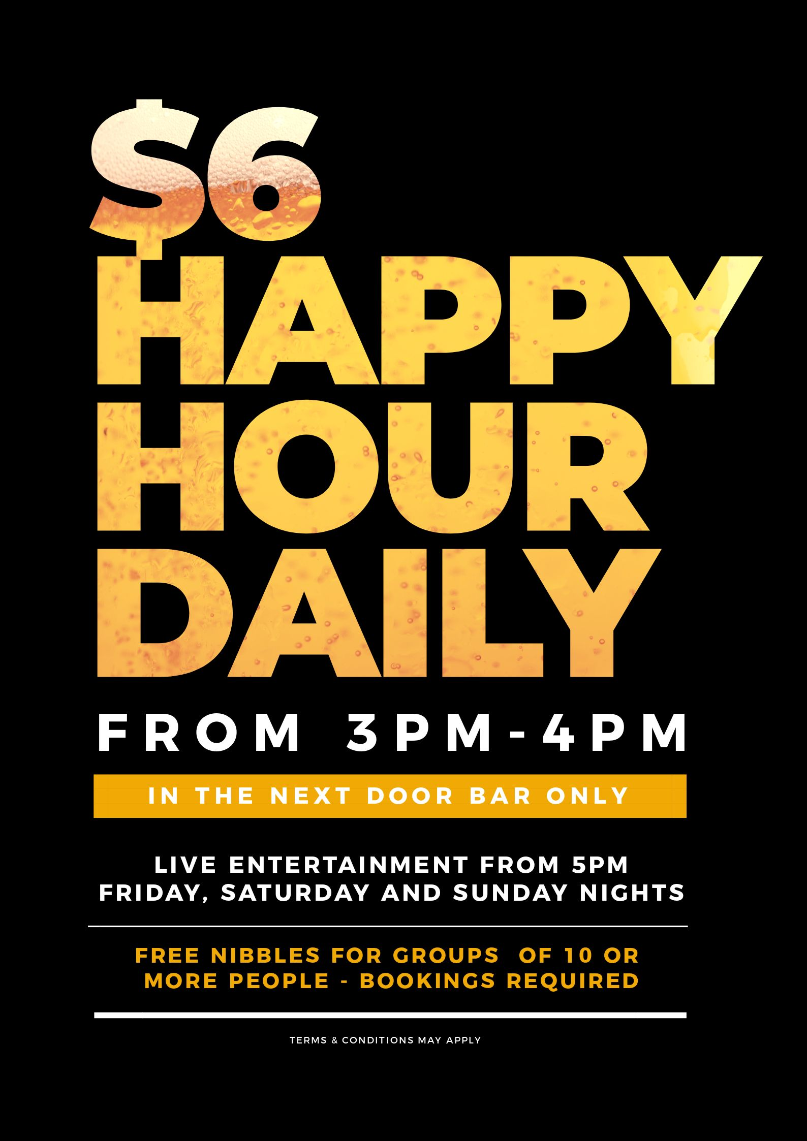 Happy Hour Poster - Image in Text Poster Designs 10 Ways - Hack Your Visual Design Series