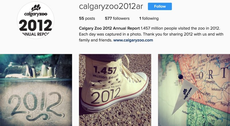 calgary zoo annual visual story on social media
