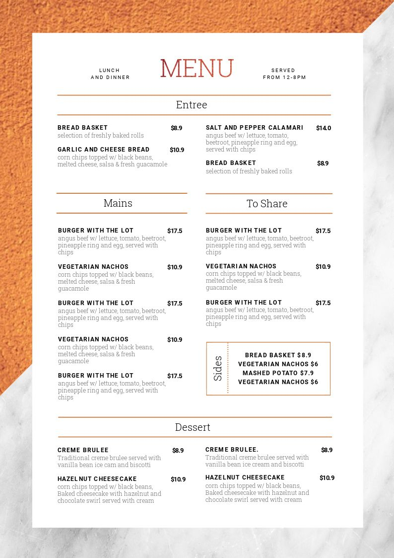 Copper & marble menu template - learn how to edit it 10 Ways (Hack your Visual Design Series)