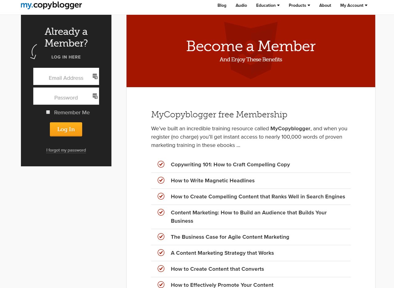 copyblogger log in page