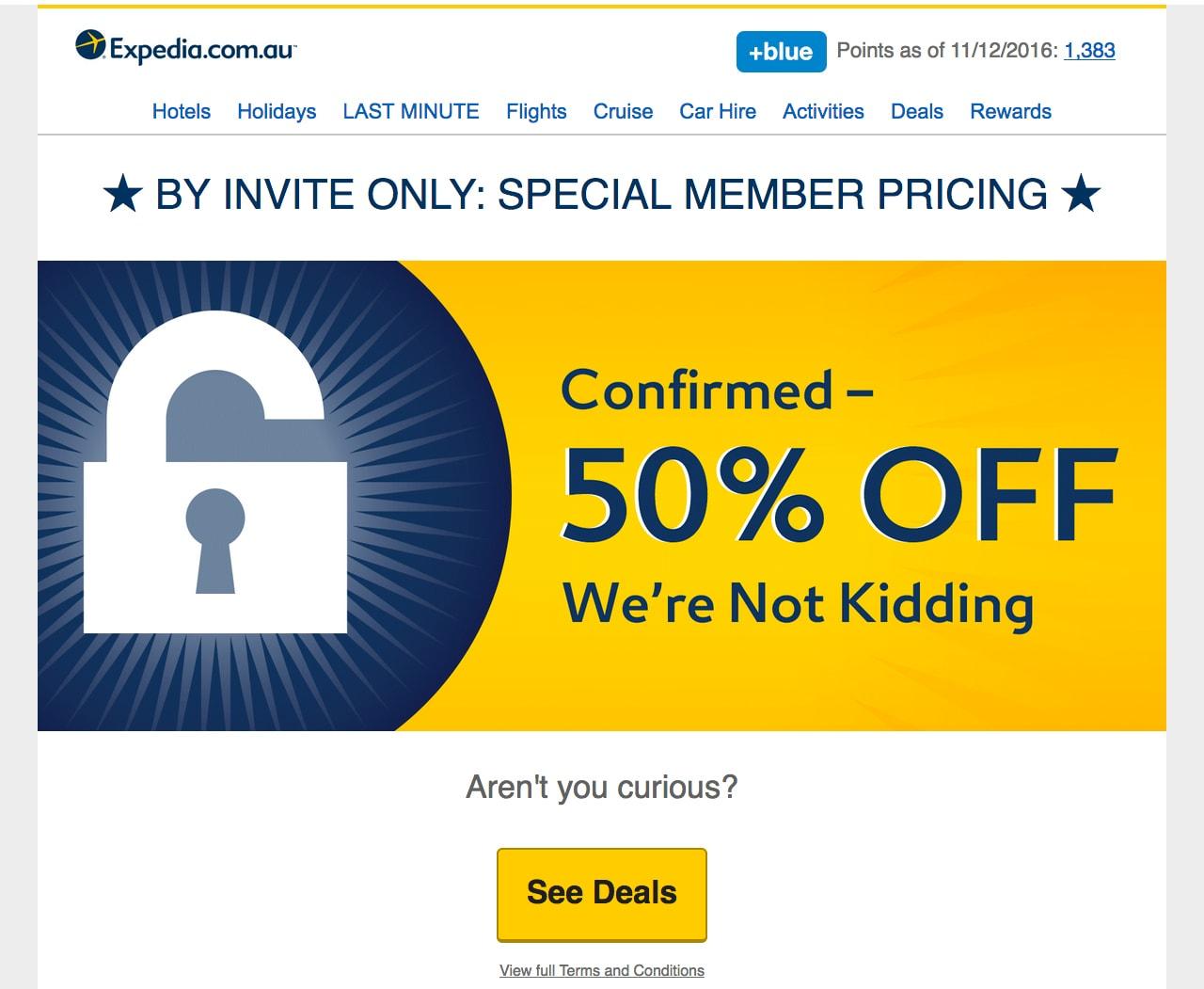 expedia promo email
