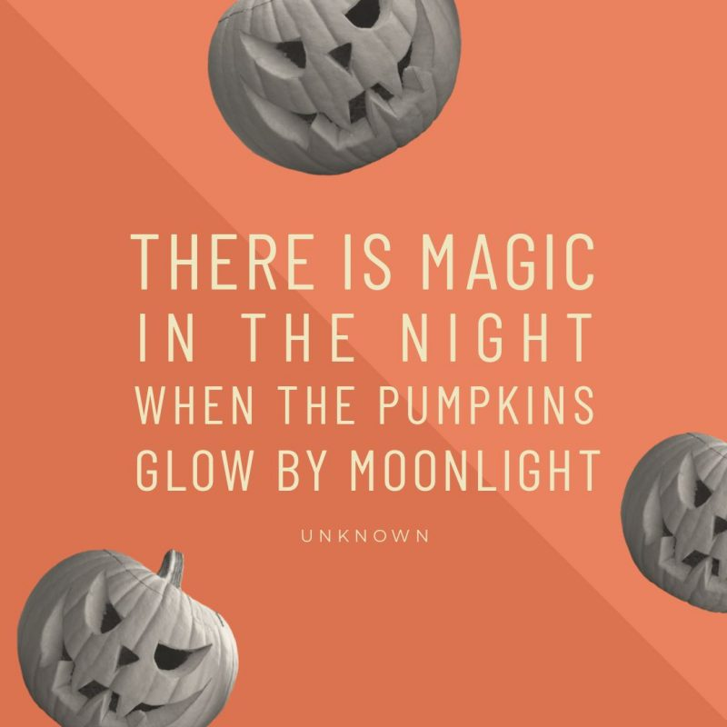 There is magic in the night Halloween Quote by Easil - 22 Halloween Quotes for Spooky Social Media Posts