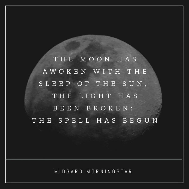 The Moon has awoken with the sleep of the sun, the light has been broken; the spell has begun - Halloween Quote by Easil - 22 Halloween Quotes for Spooky Social Media Posts