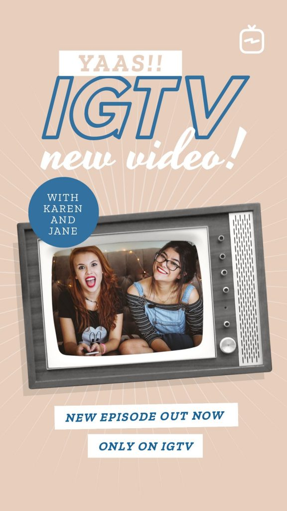 Retro New IGTV Announcement Cover Template - 17 Stunning IGTV Templates for your Instagram TV Channel