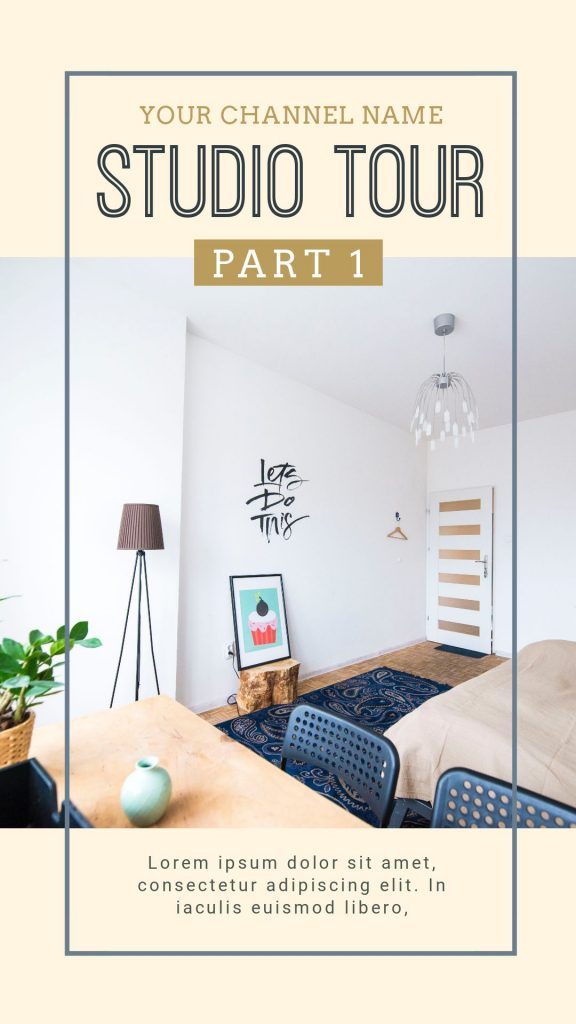 Studio Tour IGTV Cover Template - 17 Stunning IGTV Templates for your Instagram TV Channel