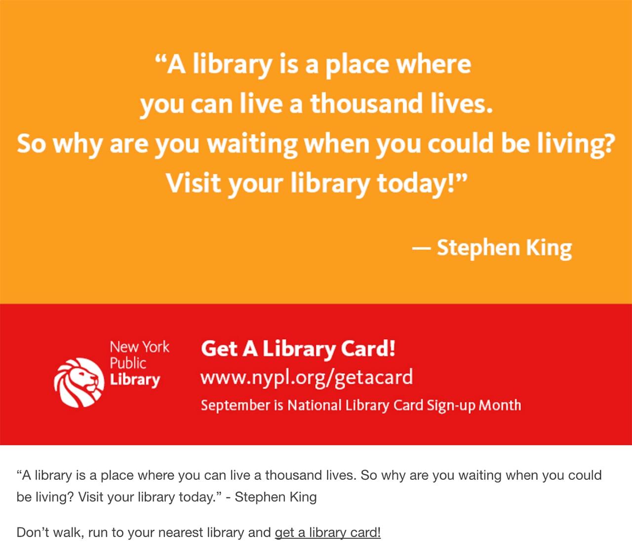 visual content tactics NYPL quote